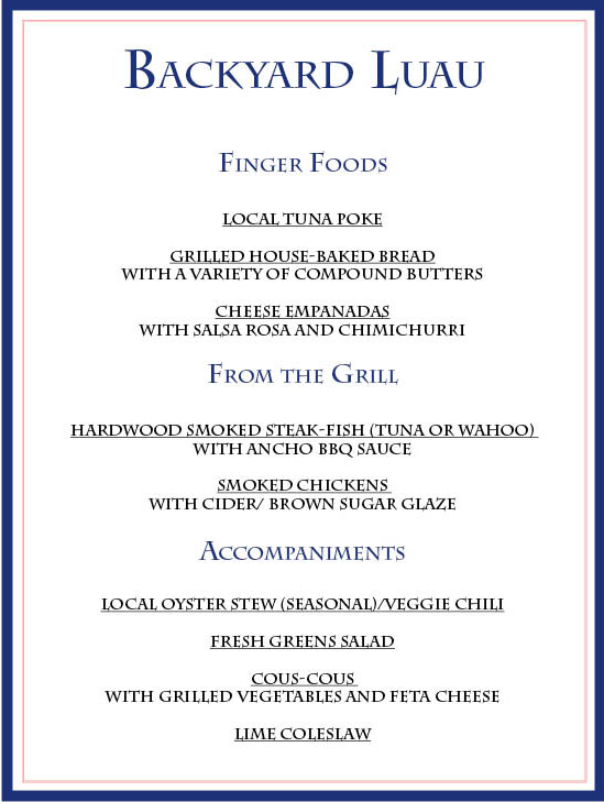 Luau menu for pinterest